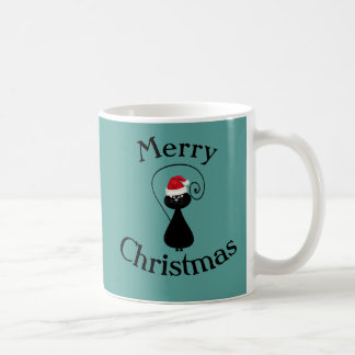Funny cartoon Santa cat christmas Coffee Mug