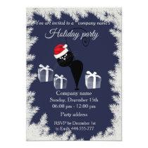 Funny cartoon Santa cat holiday party corporate Invitation