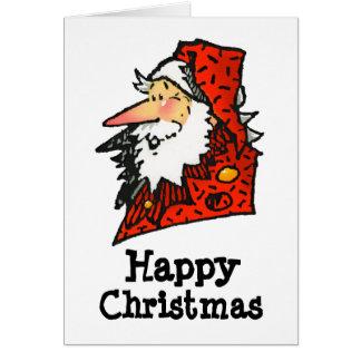 Funny Cartoon Santa or Father Christmas Greeting Card