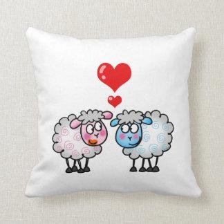 Funny cartoon sheep, Wedding couple Throw Pillow