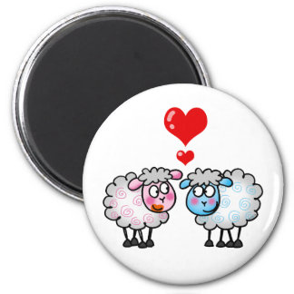 Funny cartoon sheeps, Wedding couple 2 Inch Round Magnet