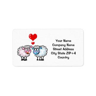 Funny cartoon sheeps, Wedding couple Label