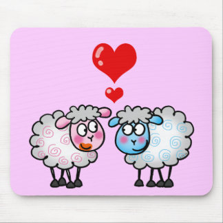 Funny cartoon sheeps, Wedding couple Mouse Pad
