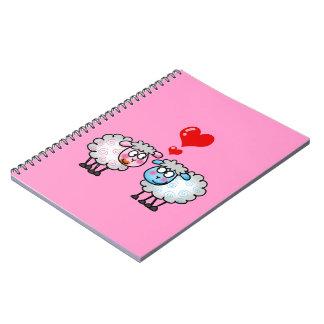Funny cartoon sheeps, Wedding couple Notebook