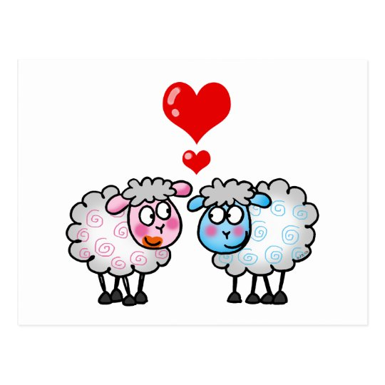 Funny cartoon sheeps, Wedding couple Postcard