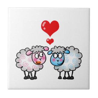 Funny cartoon sheeps, Wedding couple Tile