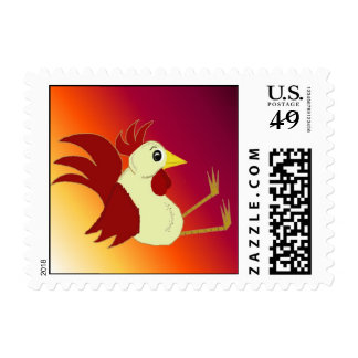 Funny Cartoon Sitting Rooster Postage