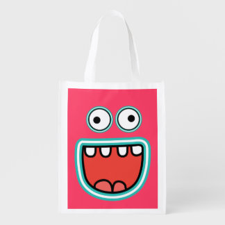 Funny Cartoon Smiley Face with Big Eyes Reusable Grocery Bag