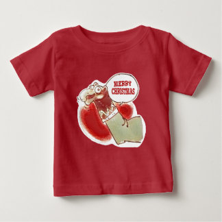 funny cartoon sock puppet says merry christmas baby T-Shirt