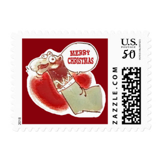funny cartoon sock puppet says merry christmas postage