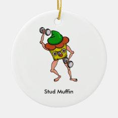 Funny Cartoon Stud Muffin Workout Ceramic Ornament at Zazzle