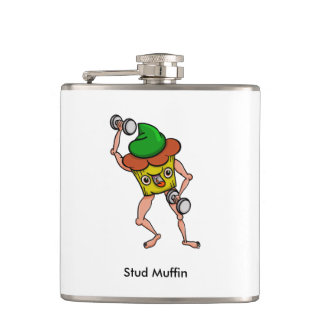 Funny Cartoon Stud Muffin Workout Hip Flask