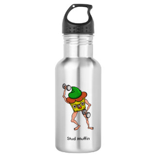 Funny Cartoon Stud Muffin Workout Stainless Steel Water Bottle