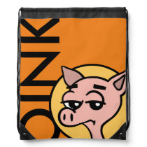 FUNNY CARTOON STYLE PIG DRAWSTRING BACKPACK