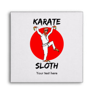 Funny Cartoon Style Sloth Doing Martial Arts Envelopes