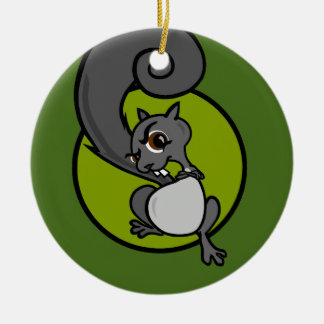 FUNNY CARTOON STYLE SQUIRREL CHRISTMAS ORNAMENT