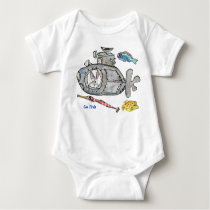 Funny Cartoon Submarine Fishes Baby Baby Bodysuit