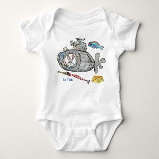 Funny Cartoon Submarine Fishes Baby Baby Bodysuit