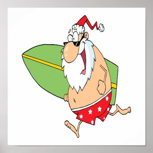 funny cartoon surfer surfing santa claus poster