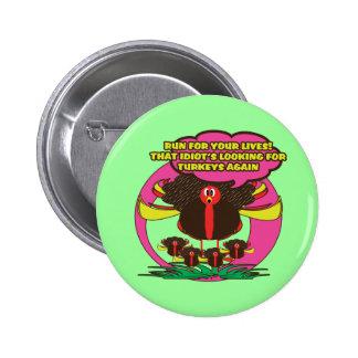 Funny cartoon thanksgiving turkey buttons - cute
