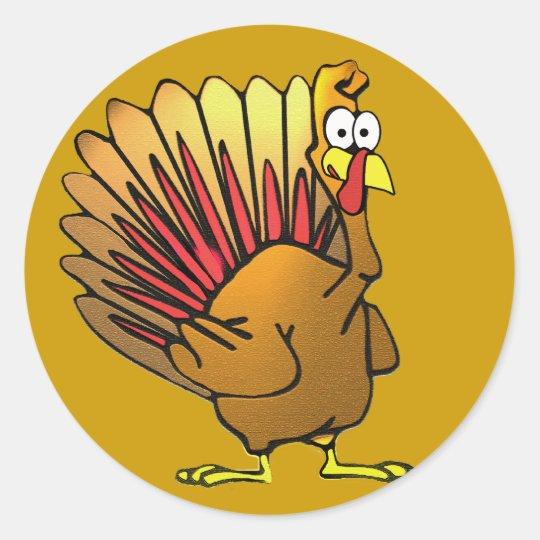 Funny Cartoon Thanksgiving Turkey Classic Round Sticker