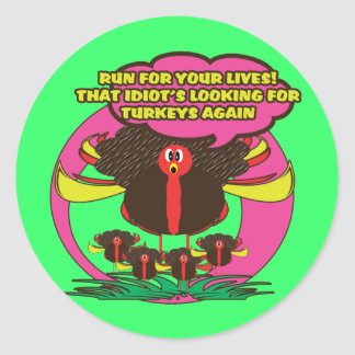 Funny cartoon thanksgiving turkey stickers - cute