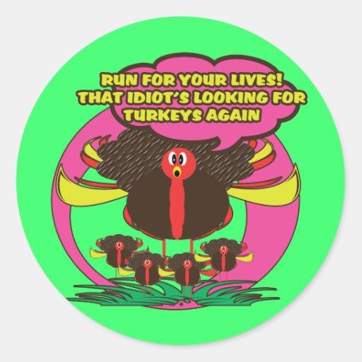Funny cartoon thanksgiving turkey stickers - cute