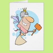 funny cartoon tooth fairy with mallot card