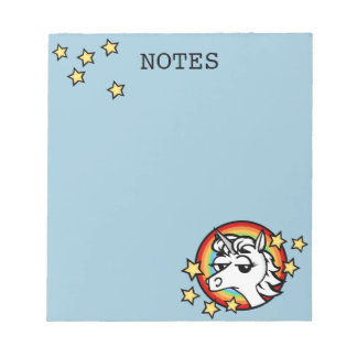 FUNNY CARTOON UNICORN NOTEPAD
