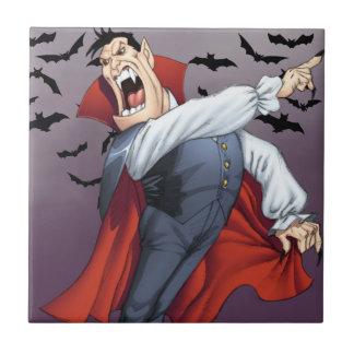 Funny Cartoon Vampire with Bats by Al Rio Ceramic Tile