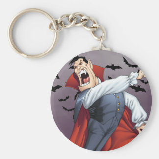 Funny Cartoon Vampire with Bats by Al Rio Keychains