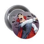 Funny Cartoon Vampire with Bats by Al Rio Pinback Button