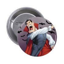 cartoon, dracula, vampire, drawing, art, al rio, bats, spooky, halloween, thomas mason, Button with custom graphic design