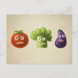 Funny Cartoon Vegetables Post Card