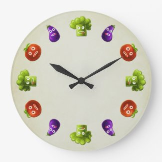 Funny Cartoon Vegetables Wall Clock