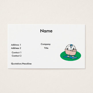 funny cartoon wet golfball wrapped in towel business card