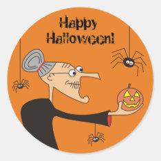 Funny Cartoon Witch Halloween Stickers,Orange Classic Round Sticker at Zazzle