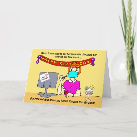 Funny Cartoon Woman Face Mask Chocolate Card