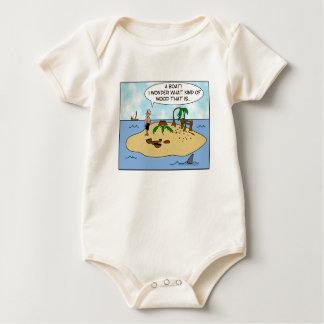 Funny Cartoon Woodturner on Deserted Island Baby Bodysuit