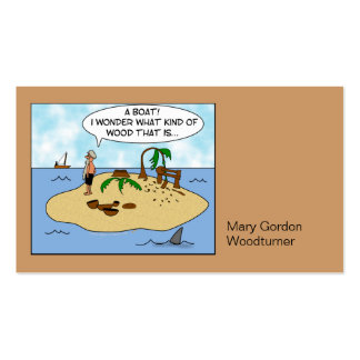 Funny Cartoon Woodturner on Deserted Island Double-Sided Standard Business Cards (Pack Of 100)