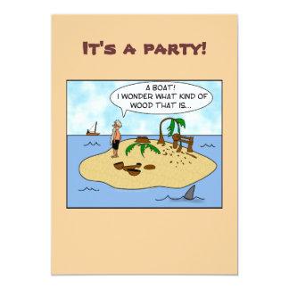 Funny Cartoon Woodturner on Deserted Island Card