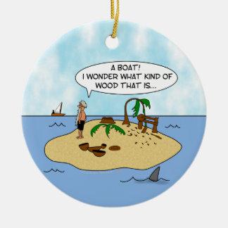 Funny Cartoon Woodturner on Deserted Island Ceramic Ornament
