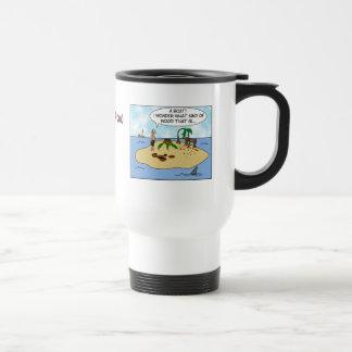 Funny Cartoon Woodturner on Deserted Island 15 Oz Stainless Steel Travel Mug