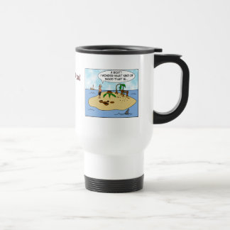 Funny Cartoon Woodturner on Deserted Island Travel Mug