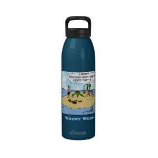 Funny Cartoon Woodturner on Deserted Island Drinking Bottle