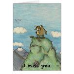 Funny cartoon yak on mountain top. greeting card