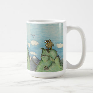 Funny cartoon yak on mountain top. mugs