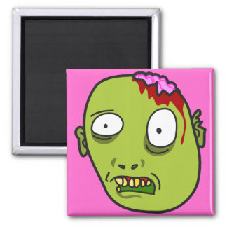 Funny Cartoon Zombie Face 2 Inch Square Magnet