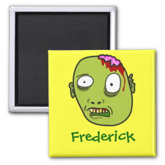 Funny Cartoon Zombie Face Personalized Name Gift 2 Inch Square Magnet