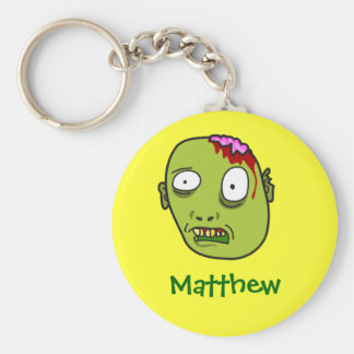Funny Cartoon Zombie Face Personalized Name Gift Keychain